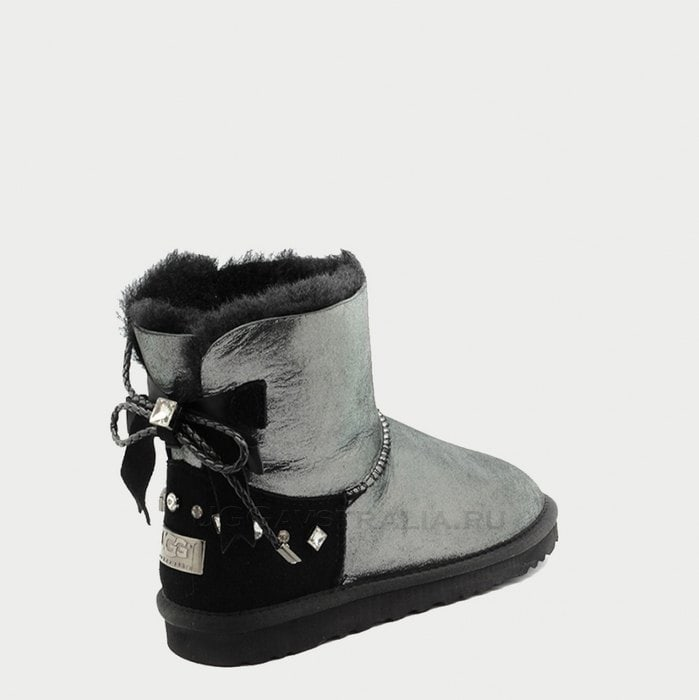 Женские полусапожки UGG Mini Bailey Bow Braid Glitter Black