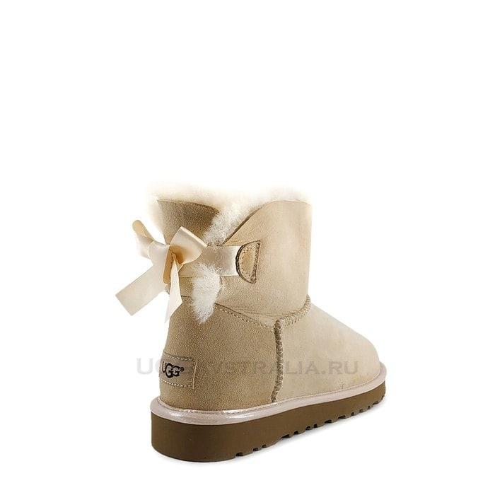 Женские полусапожки UGG Mini Bailey Bow II Metallic Slate