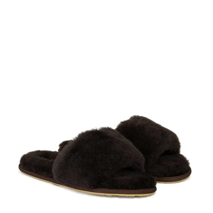 Женские тапочки UGG Fluff Slide Slippers Chocolate