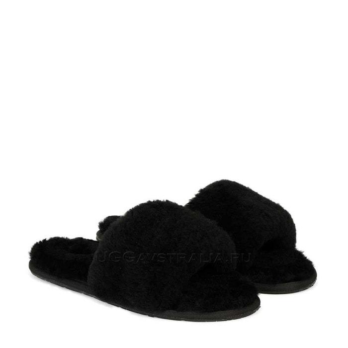 Женские тапочки UGG Fluff Slide Slippers Black