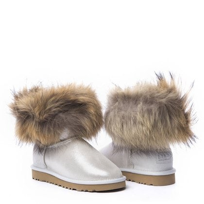Угги UGG Mini Fox Fur Metallic White