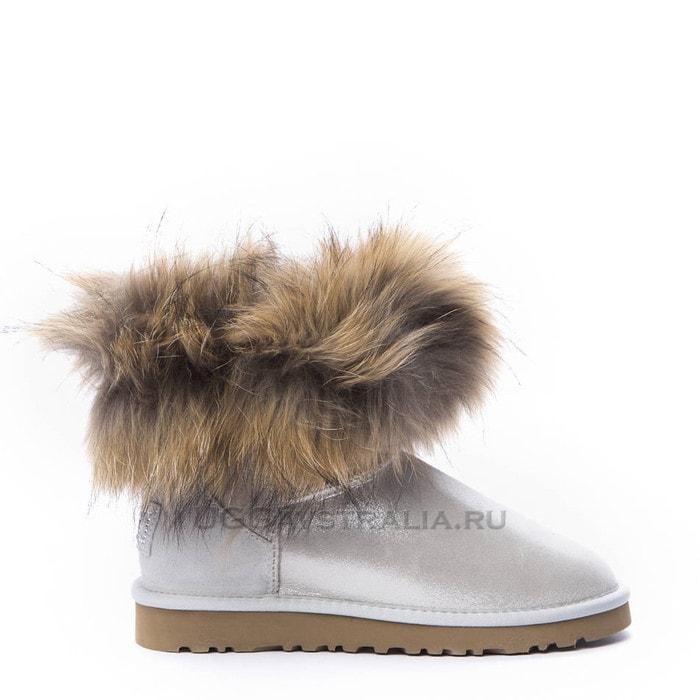 Женские полусапожки UGG Mini Fox Fur Metallic White