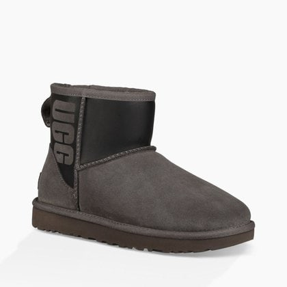 Угги UGG Classic Mini Rubber Boot Grey/Black