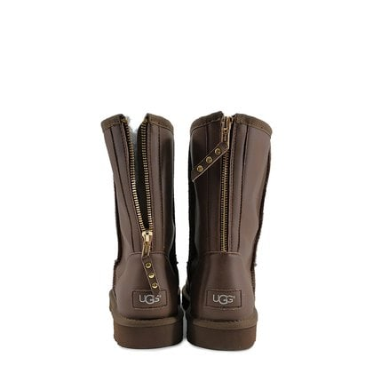 Угги UGG Mens Classic Short Zip Rock Leather Chocolate