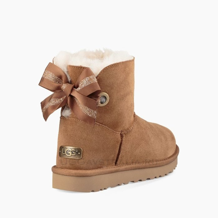 Женские полусапожки UGG Mini Bailey Bow Customizable Chestnut