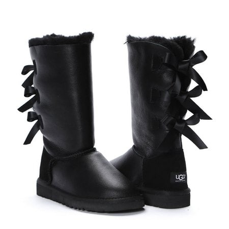 Угги UGG Bailey Bow Tall Metallic Black
