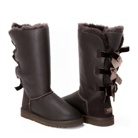 Угги UGG Bailey Bow Tall Metallic Chocolate