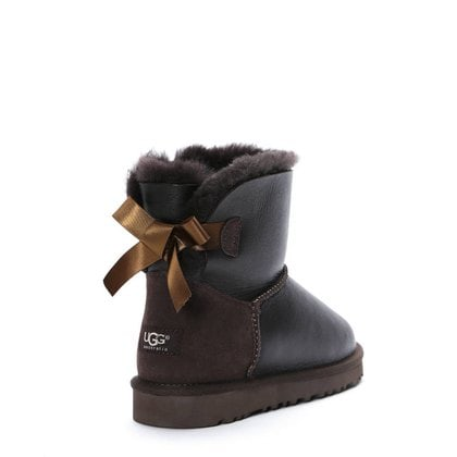 Угги UGG Mini Bailey Bow Metallic Chocolate