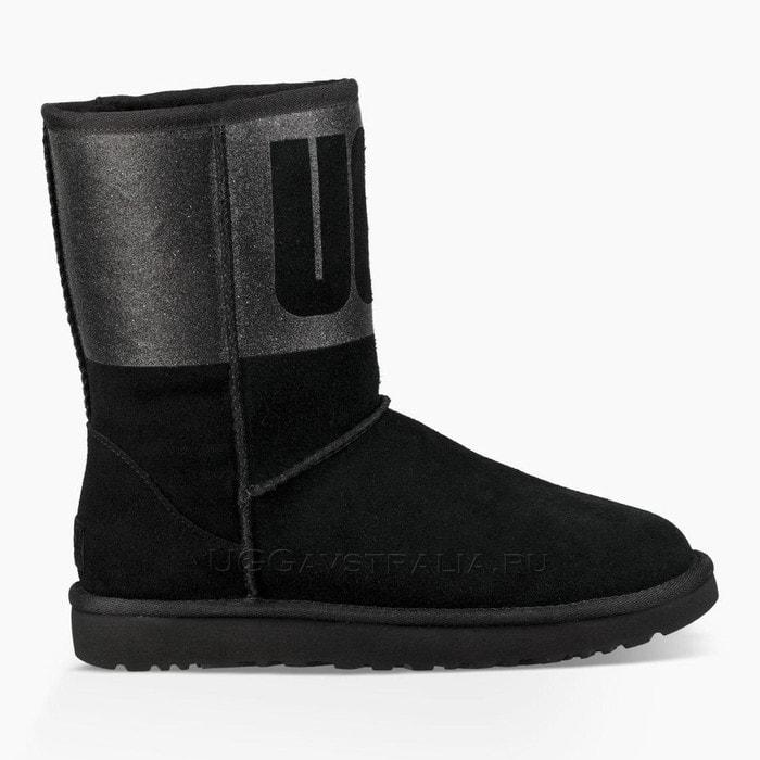 Женские полусапожки UGG Classic Short Sparkle Boot Black