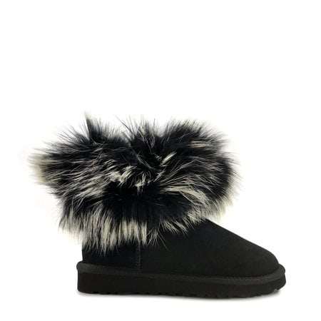 Угги UGG Mini Fox Fur Ultra Black