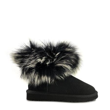 Угги UGG Mini Fox Fur Ultra Black