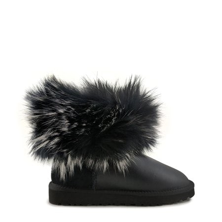 Угги UGG Mini Fox Fur Ultra Metallic Black