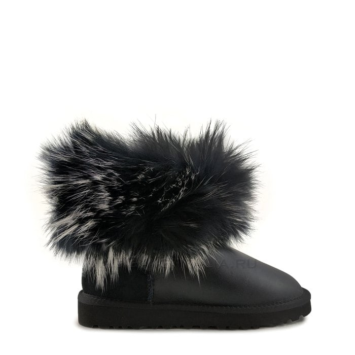 Женские полусапожки UGG Mini Fox Fur Ultra Metallic Black