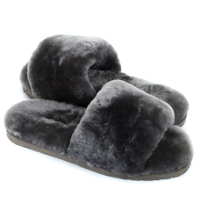 Женские тапочки UGG Fluff Slide Slippers Grey