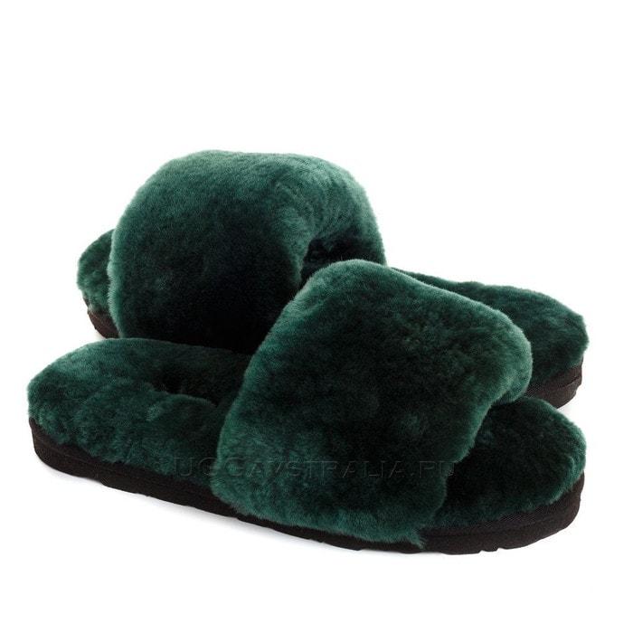 Женские тапочки UGG Fluff Slide Slippers Dark Green