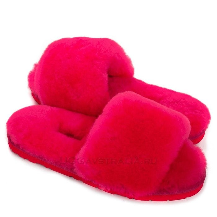 Женские тапочки UGG Fluff Slide Slippers Rose Red