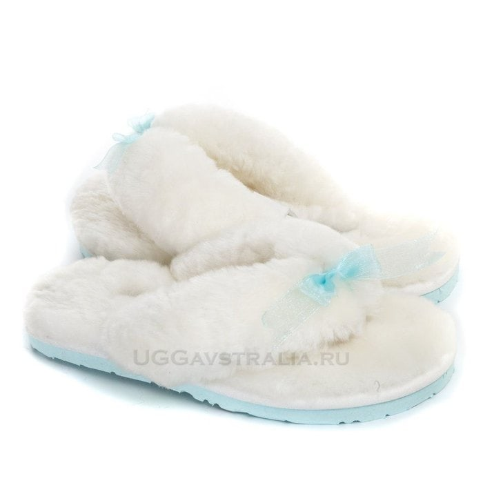 Женские тапочки UGG Fluff Flip Flop II White