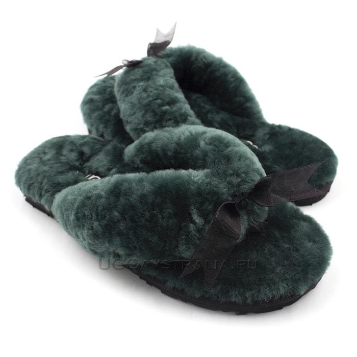 Женские тапочки UGG Fluff Flip Flop II Dark Green