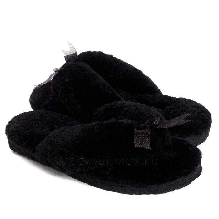 Женские тапочки UGG Fluff Flip Flop II Black