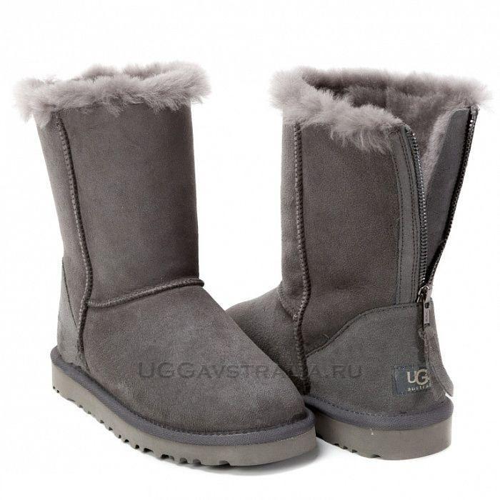 Угги UGG Classic Short Zip Grey