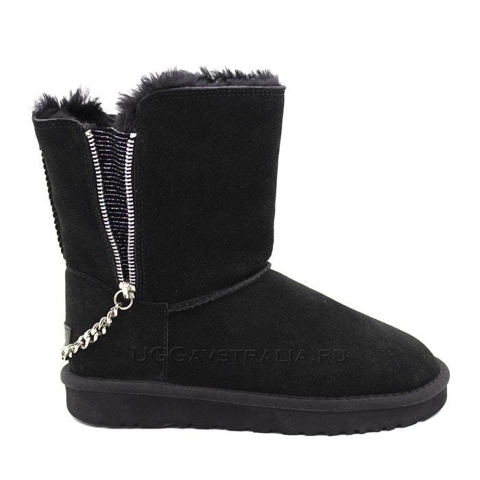 Женские полусапожки UGG Short Double Zip Black