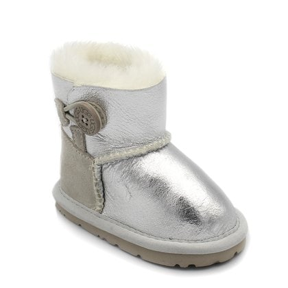 Пинетки UGG Baby Bailey Button Metallic Silver