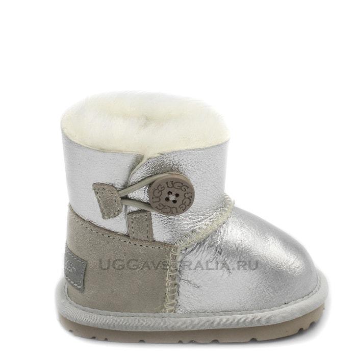 Детские пинетки UGG Baby Bailey Button Metallic Silver