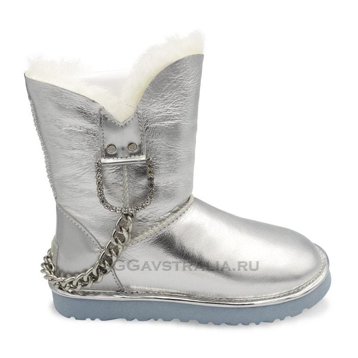 Женские полусапожки UGG Chain Metallic Silver