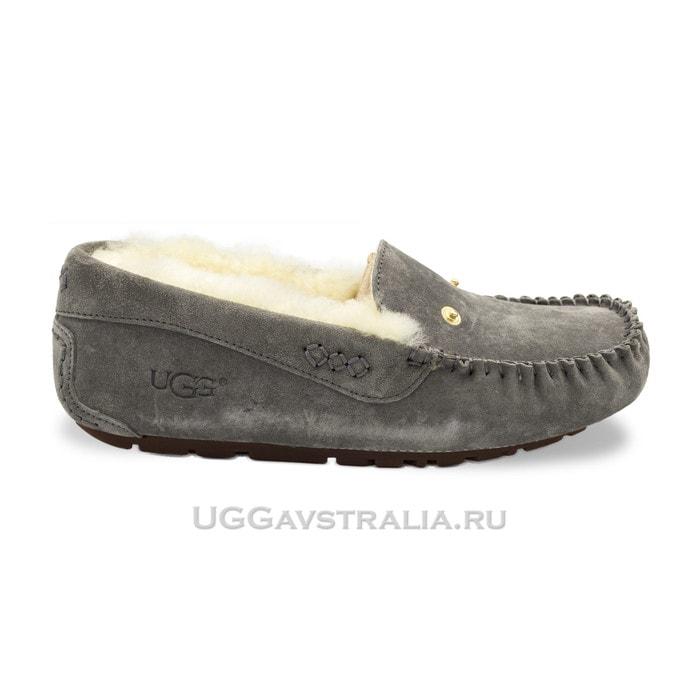 Женские мокасины UGG Dakota New Pom Grey