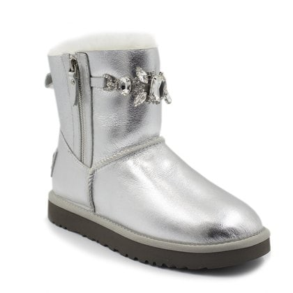 Угги UGG Double Zip Gretta Metallic Silver