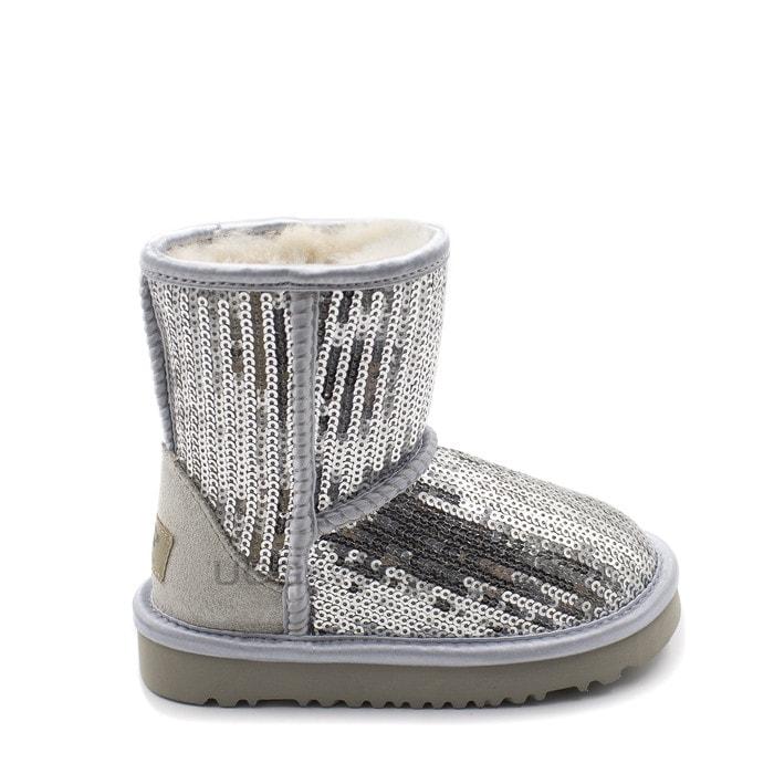 Детские полусапожки UGG Kids Classic Short Sparkles Silver
