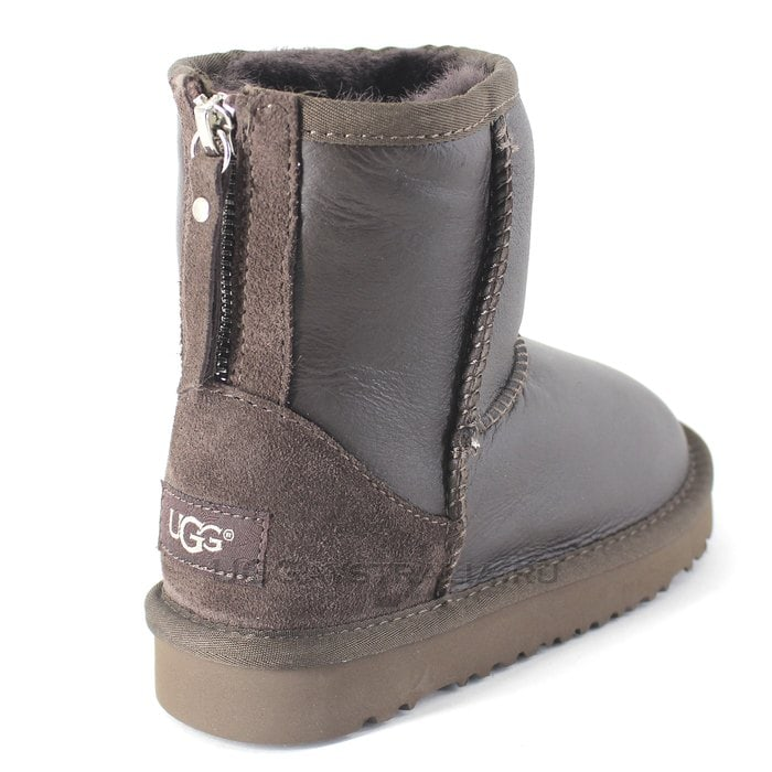 Детские полусапожки UGG Kids Classic Short Zip Metallic Chocolate