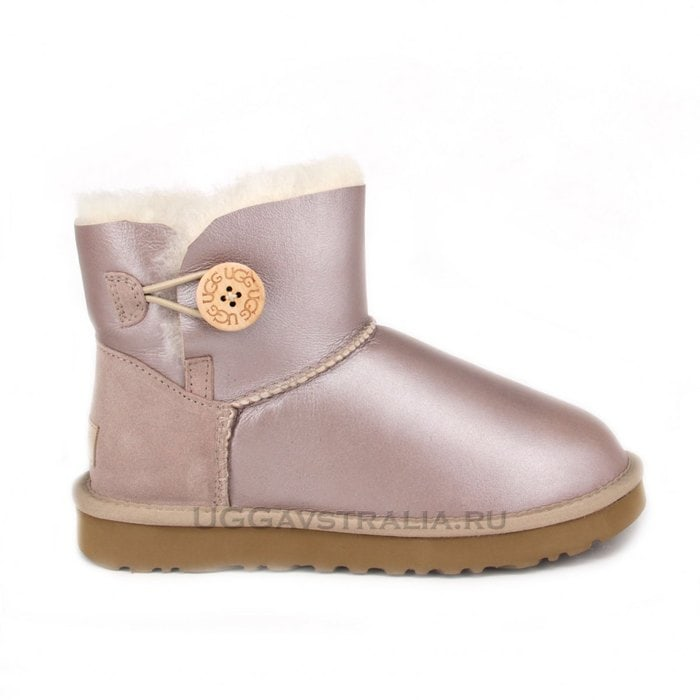 Женские полусапожки UGG Mini Bailey Button Metallic Pearl