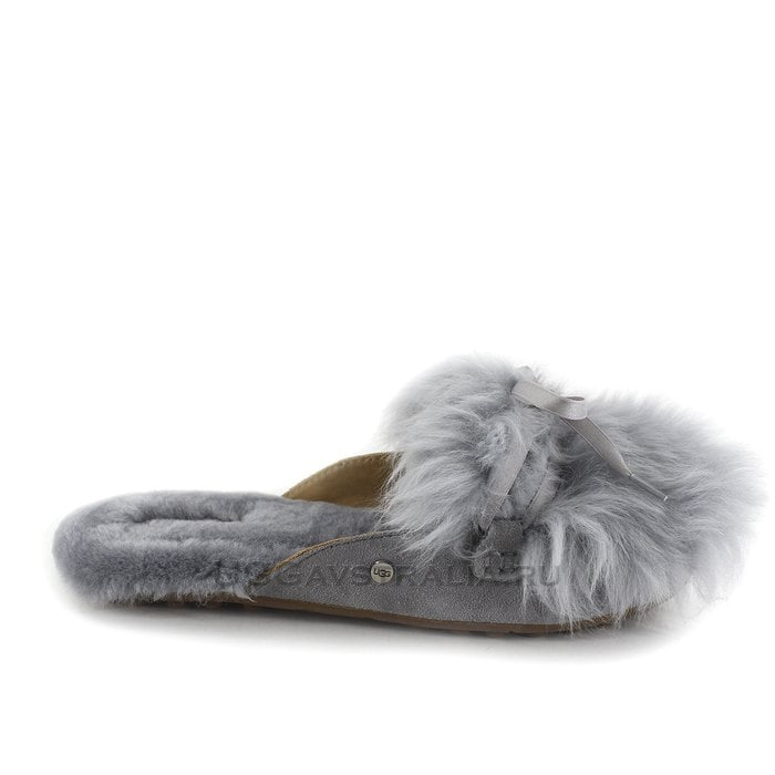 Женские тапочки UGG Shaine Fluff Slippers Grey