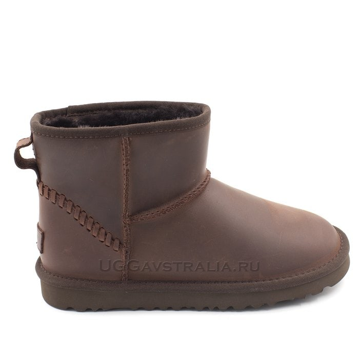 Мужские полусапожки UGG Mens Classic Mini Deco Leather Chocolate