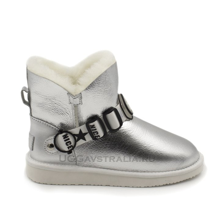 Женские полусапожки UGG Mini Snow Pack Metallic Silver