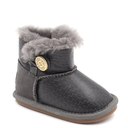 Пинетки UGG Baby Bailey Button Metallic Grey
