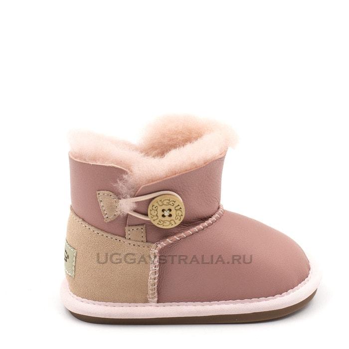 Детские пинетки UGG Baby Bailey Button Metallic Pink
