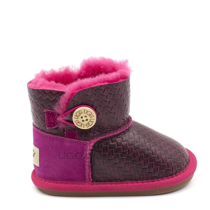 Детские пинетки UGG Baby Bailey Button Metallic Red