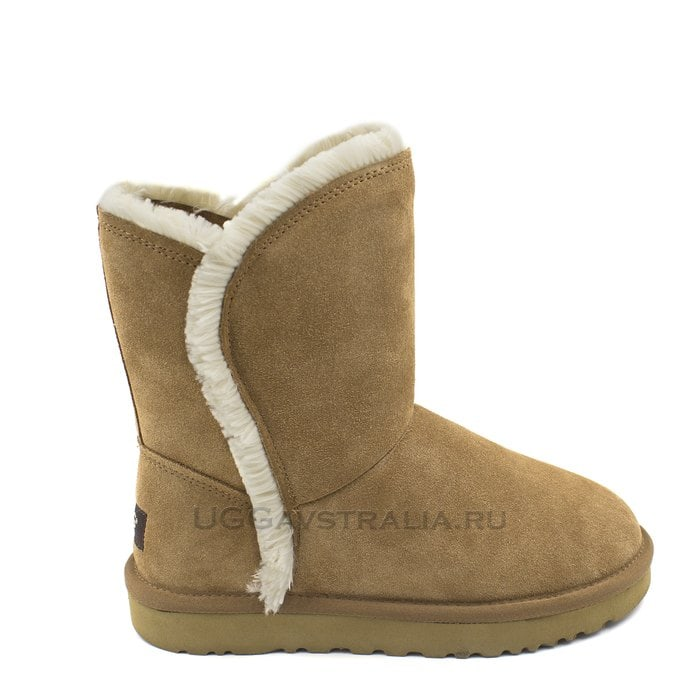 Женские полусапожки UGG Classic Short Fluff High-Low Chestnut