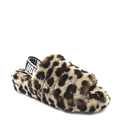 Тапочки UGG Fluff Yeah Logo Slide Leopard