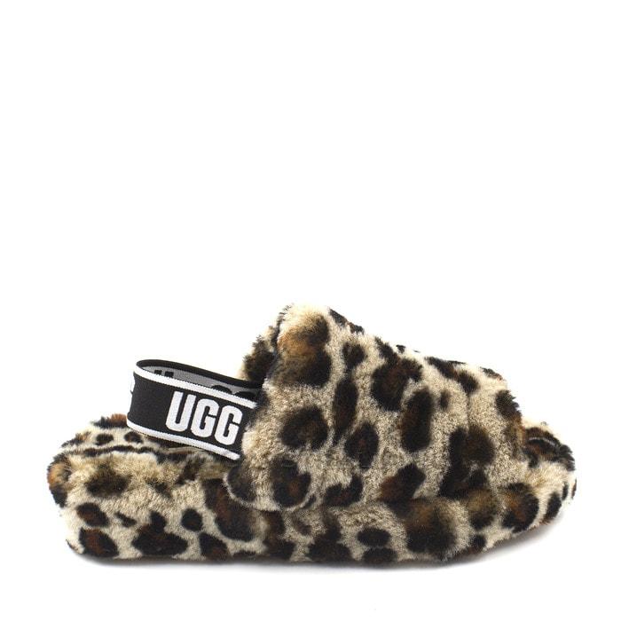 Женские тапочки UGG Fluff Yeah Logo Slide Leopard