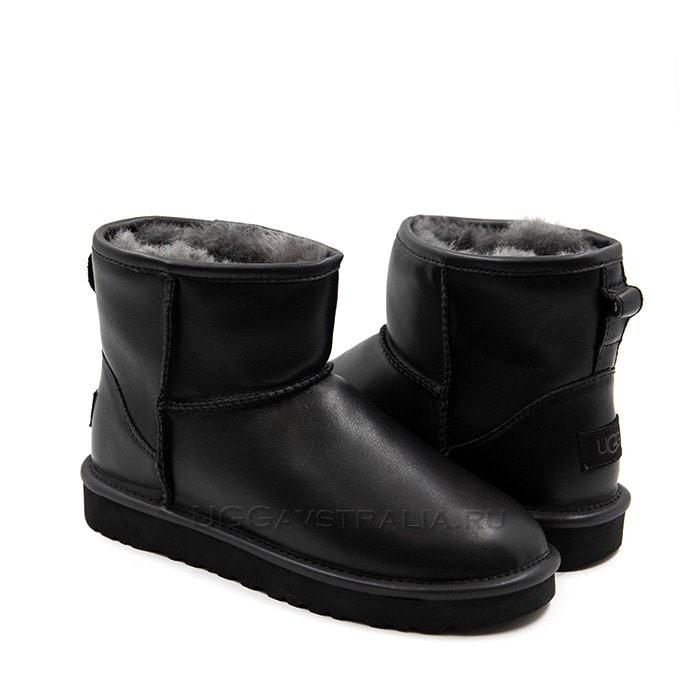 Женские полусапожки UGG Classic Mini Leather Black