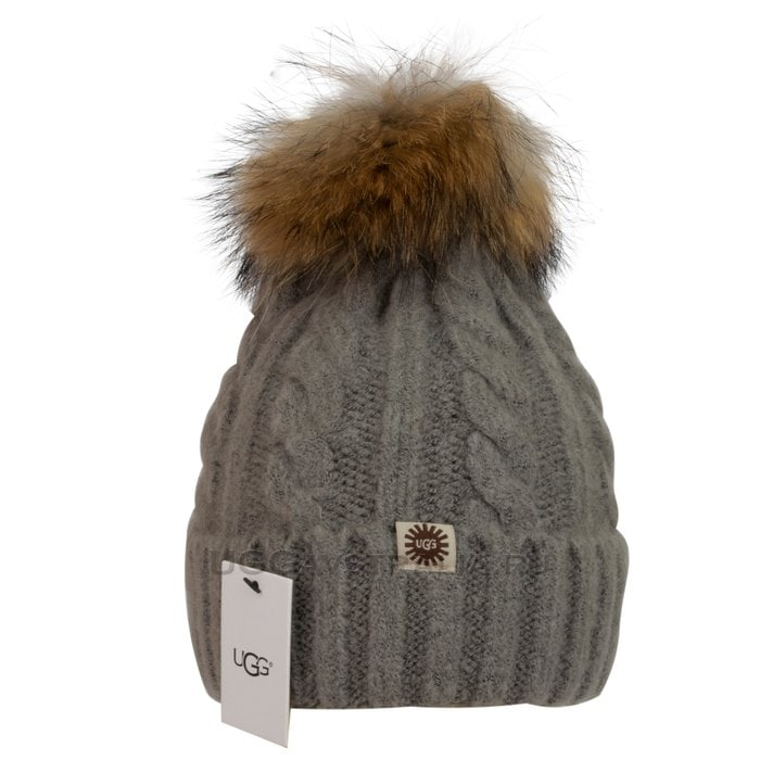 Женская шапка UGG Knit Pom Hat Grey