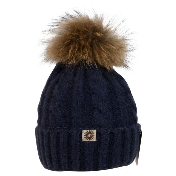 Женская шапка UGG Knit Pom Hat Navy