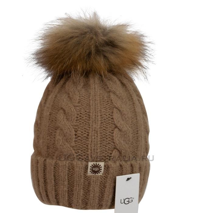 Женская шапка UGG Knit Pom Hat Camel