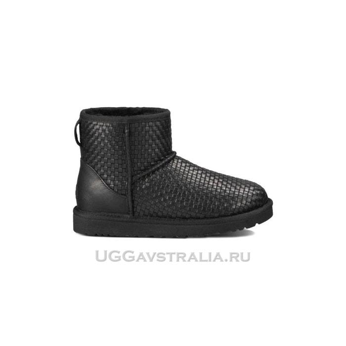Женские полусапожки UGG Classic Mini Woven Black
