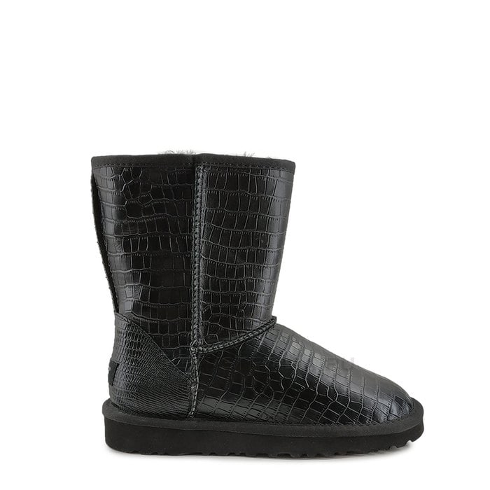 Женские полусапожки UGG Classic Short Croco Leather Black