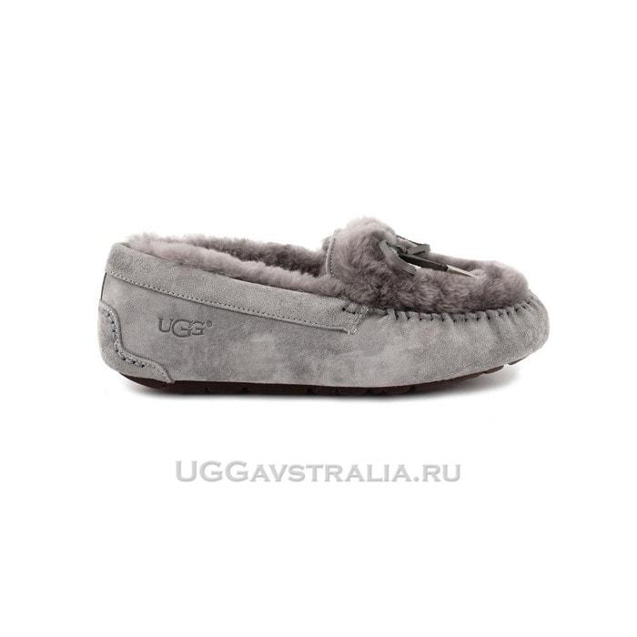 Женские мокасины UGG Ansley Fur Ornate Grey
