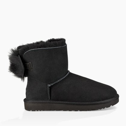 Угги UGG Classic Mini Fluff Bow Boot Black